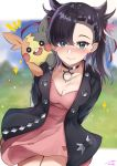 1girl arms_behind_back black_hair black_jacket blue_eyes choker dress earrings gen_8_pokemon jacket jewelry konata_(knt_banri) mary_(pokemon) morpeko pink_dress pokemon pokemon_(game) pokemon_on_shoulder pokemon_swsh smile twintails