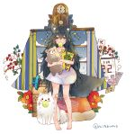 1girl animal animal_ear_fluff animal_ears ball bandaid bandaid_on_face bandaid_on_knee bandaid_on_leg bandaid_on_neck bare_legs barefoot black_hair bruise calendar_(object) circle_name clock crossed_arms curtains cuts dirty_clothes dog doll_hug doodle fang flower full_body highres injury long_hair mitoko_(kuma) mouth_hold naked_shirt original pendulum_clock plant shirt short_sleeves snow snowing sparkle standing stuffed_animal stuffed_toy tail teddy_bear tennis_ball toy_car twitter_username very_long_hair window wolf_ears wolf_girl wolf_tail