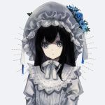 1girl bangs black_hair blue_eyes blue_flower blue_rose bow dress eyebrows_behind_hair flower grey_background hair_between_eyes highres juliet_sleeves long_hair long_sleeves looking_at_viewer original parted_lips puffy_sleeves rose simple_background solo upper_body veil white_bow white_dress white_flower yumegi_(bitter_orange215)