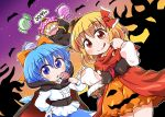 3girls bare_tree basket bat blonde_hair blue_eyes blue_hair candy cape cirno clownpiece fake_facial_hair fake_mustache food hair_ribbon halloween halloween_costume hat ice ice_wings jack-o'-lantern jester_cap licking_lips little_red_riding_hood lollipop multiple_girls polka_dot_hat ribbon rokugou_daisuke rumia tongue tongue_out touhou tree wings