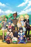 4girls 5boys :d ;d ^_^ arms_behind_back backpack bag bangs bare_arms bare_legs bare_shoulders baseball_cap beanie belt_pouch black_hair black_headwear black_pants black_shirt blonde_hair blue_eyes blue_hair blue_sky blush_stickers brown_hair clenched_hands closed_eyes closed_mouth clouds collarbone commentary dark_skin dark_skinned_male day fence fishing_rod flexing floral_print flower freckles gen_7_pokemon gladio_(pokemon) green_eyes green_footwear green_hair green_shorts grey_eyes grin hair_flower hair_ornament hair_over_one_eye hairband hand_on_another's_shoulder hand_on_hip hands_in_pockets hands_on_another's_shoulders hands_up hat hau_(pokemon) highres hood hoodie jewelry kaki_(pokemon) kneeling lillie_(pokemon) litten long_hair long_sleeves looking_at_viewer low_twintails mamane_(pokemon) mao_(pokemon) medium_hair mizuki_(pokemon) multicolored_hair multiple_boys multiple_girls one_eye_closed open_mouth orange_hair orange_shorts outdoors overall_shorts pants pendant pleated_skirt pokemon pokemon_(creature) pokemon_(game) pokemon_sm ponytail popplio pose pouch red_footwear red_headwear red_shorts redhead redpoke rowlet shirt shirtless shoes short_hair short_shorts short_sleeves shorts shoulder_bag skirt sky smile sneakers squatting standing striped striped_shirt suiren_(pokemon) swept_bangs t-shirt torn_clothes torn_pants trial_captain twintails two-tone_hair v-shaped_eyebrows waving white_footwear white_skirt you_(pokemon)