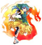 1girl :d alphes_(style) arm_ribbon between_fingers blue_hair blue_ribbon chisel commentary_request dairi dress eyebrows_visible_through_hair fire full_body green_headwear haniyasushin_keiki head_scarf highres long_hair looking_at_viewer looking_back open_mouth parody puffy_sleeves ribbon sandals shiny shiny_hair smile solo standing standing_on_one_leg style_parody tachi-e tools touhou transparent_background violet_eyes wood_carving_tool yellow_dress