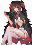 1girl bangs black_gloves blush boots breasts brown_eyes brown_hair candy cape crossed_legs double-breasted eyebrows_visible_through_hair food girls_frontline gloves hair_between_eyes hair_ribbon henz_(86551650) highres holding_handheld_game_console lollipop long_hair looking_at_viewer medium_breasts mouth_hold necktie nintendo_switch pleated_skirt qbz-97_(girls_frontline) ribbon shirt simple_background single_glove skirt solo thigh-highs thighs twintails underbust very_long_hair white_legwear white_shirt