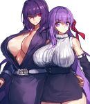 2girls bangs bb_(fate)_(all) bb_(fate/extra_ccc) belt black_dress black_skirt breasts center_opening closed_mouth collared_dress contemporary detached_sleeves dress fate/extra fate/extra_ccc fate/grand_order fate_(series) hair_between_eyes hair_ribbon high-waist_skirt jewelry large_breasts long_hair long_sleeves melon22 multiple_girls necklace open_mouth pencil_skirt pendant purple_hair red_eyes red_ribbon ribbed_sweater ribbon scathach_(fate)_(all) scathach_(fate/grand_order) simple_background skirt sleeveless sleeveless_turtleneck smile sweater turtleneck very_long_hair violet_eyes white_background
