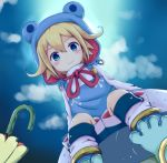 1boy abc_cherry blonde_hair blue_eyes blue_sky blush child clouds frog_hood from_below highres hood kneehighs long_sleeves looking_at_viewer merc_storia outdoors raincoat shorts sitting sky umbrella