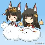 >_< 2girls :d animal animal_ear_fluff animal_ears animal_hug azur_lane bangs bird black_hair blue_background blush brown_eyes cat chibi chick closed_eyes closed_mouth clouds commentary_request detached_sleeves dress eyebrows_visible_through_hair fang fox_ears fox_girl fox_tail headpiece long_hair long_sleeves manjuu_(azur_lane) miicha multiple_girls mutsu_(azur_lane) nagato_(azur_lane) open_mouth pleated_dress red_dress sidelocks sleeves_past_wrists smile strapless strapless_dress tail twitter_username very_long_hair white_sleeves wide_sleeves xd