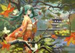 1girl absurdres ahoge aqua_eyes aqua_hair architecture autumn_leaves berry branch bug butterfly closed_eyes commentary day east_asian_architecture feet_out_of_frame floral_print from_side hand_up hatsune_miku highres huge_filesize insect japanese_clothes kimono leaf long_hair looking_to_the_side maple_leaf narukage_(user_tgns7842) obi outdoors pond red_kimono reflection sash smile standing temple tree twintails very_long_hair vocaloid wide_shot