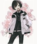 1boy :d bangs belt black_hair black_pants black_shirt collared_shirt copyright_request fang floral_background flower grey_background hair_between_eyes hand_in_pocket head_tilt jacket long_sleeves male_focus open_clothes open_jacket open_mouth pants pink_flower shirt smile solo white_belt white_jacket white_shirt yumegi_(bitter_orange215)