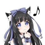 1girl :3 black_hair blue_eyes gothic_lolita highres lolita_fashion long_hair musical_note neko_kizuna original standing tachi-e