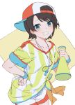 1girl baggy_clothes bangs baseball_cap black_hair blue_eyes blush commentary cowboy_shot grin hand_on_hip hat holding_megaphone hololive izumi_sai looking_at_viewer megaphone oozora_subaru shirt short_hair short_sleeves shorts sideways_hat simple_background smile solo stopwatch striped striped_shirt tied_shirt vertical-striped_shirt vertical_stripes virtual_youtuber watch whistle whistle_around_neck white_shorts yellow_background