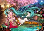 1girl animal_print aqua_eyes aqua_hair architecture autumn_leaves boat bug butterfly butterfly_print cherry_blossoms collage east_asian_architecture floral_print flower fox from_side full_moon glowing_butterfly hair_flower hair_ornament hatsune_miku highres inari insect japanese_clothes kimono leaf long_hair looking_to_the_side maple_leaf moon multiple_torii outdoors pink_kimono river sandals socks solo temple torii tree twintails uanuan very_long_hair vocaloid watercraft wide_shot yasaka_pagoda