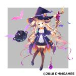1girl black_legwear blonde_hair blush dress flat_chest gemini_seed hair_ornament hair_ribbon hat highres horns long_hair nail_polish official_art potion red_eyes ribbon shoes tougetsu_hajime twintails very_long_hair witch_hat