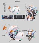 1girl armor armored_dress balusah bilibili_douga blue_hair gun hair_ornament mecha_musume mechanical red_eyes short_hair weapon