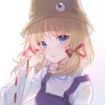 1girl :o absurdres bangs blonde_hair blue_eyes blush brown_headwear dress eyebrows_visible_through_hair hair_ribbon hand_on_own_face hand_up highres long_sleeves looking_at_viewer moriya_suwako parted_lips pinafore_dress purple_dress red_ribbon ribbon ribbon-trimmed_sleeves ribbon_trim shirt sidelocks signature simple_background slyvia solo touhou upper_body white_background white_shirt wide_sleeves