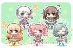5girls ^_^ bang_dream! bangs blonde_hair blush braid brown_hair catchphrase chibi closed_eyes commentary_request dress eyebrows_visible_through_hair flower_(symbol) flying_sweatdrops green_background green_eyes hair_ribbon hand_on_own_cheek hasewox highres hikawa_hina idol idol_clothes light_green_hair long_hair maruyama_aya multiple_girls no_eyewear notice_lines one_eye_closed open_mouth pastel_palettes pink_eyes pink_hair pleated_dress ribbon shirasagi_chisato smile standing standing_on_one_leg star swept_bangs thigh-highs twin_braids twintails violet_eyes wakamiya_eve white_hair wristband yamato_maya