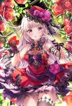 1girl :q absurdres apple bare_shoulders black_bow bow breasts brown_gloves closed_mouth cowboy_shot dress emori_miku_project fishnets flower food fruit gloves hand_up highres holding holding_food holding_fruit lace_trim long_hair looking_at_viewer medium_breasts nail_polish red_dress red_eyes red_flower red_headwear rose sakura_moyon silver_hair single_glove single_thighhigh sleeveless sleeveless_dress smile solo standing thigh-highs tongue tongue_out v very_long_hair