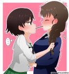 2girls blush braid braided_ponytail breasts brown_eyes brown_hair closed_eyes eyebrows_visible_through_hair food girls_und_panzer hair_ornament hair_ribbon highres isobe_noriko large_breasts long_hair looking_at_another multiple_girls ooarai_school_uniform pink_background pocky pocky_day pocky_kiss ponytail ribbon rukuriri school_uniform shiny shiny_hair short_hair simple_background size_difference small_breasts st._gloriana's_school_uniform tanutika trembling yuri