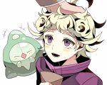 2boys aela ahoge beet_(pokemon) blonde_hair blush curly_hair duosion jacket multiple_boys open_mouth petting pink_jacket pokemon pokemon_(game) pokemon_swsh rose_(pokemon) short_hair smile turtleneck violet_eyes