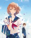 1boy 1girl :d absurdres ahoge arm_behind_back bag bangs blue_sailor_collar blue_sky blush brown_eyes brown_hair chain-link_fence charm_(object) collarbone dangmill day fence flat_chest flower hair_between_eyes hair_ornament hairclip highres holding holding_flower looking_at_viewer novel_illustration official_art open_mouth petals red_neckwear rindou_ni_sayonara_wo sailor_collar school_bag school_uniform serafuku short_hair short_sleeves sky smile standing white_serafuku wind