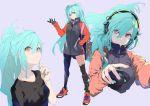1girl aqua_hair character_sheet headset highres jacket kiriyama long_hair mouse red_eyes shoes sneakers solo
