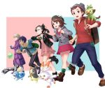 2girls 3boys backpack bag beet_(pokemon) black_nails dress duosion dusk_ball fur-trimmed_jacket fur_trim galarian_linoone gen_5_pokemon gen_8_pokemon gloves great_ball grookey hat hirono_(hxze4434) hop_(pokemon) jacket long_coat mary_(pokemon) masaru_(pokemon) morpeko multiple_boys multiple_girls pants poke_ball poke_ball_(generic) pokemon pokemon_(game) pokemon_swsh running scorbunny single_glove sobble yuuri_(pokemon)