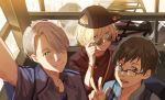 3boys backpack bag baseball_cap black_hair blonde_hair blue-framed_eyewear blue_eyes bracelet brown_eyes collared_shirt glasses green_eyes hair_over_one_eye hat jewelry katsuki_yuuri male_focus multiple_boys open_mouth self_shot shirt sideways_hat silver_hair smile sunglasses v viktor_nikiforov yuri!!!_on_ice yuri_plisetsky zhong1234