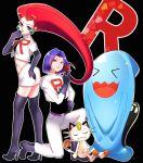 blue_eyes blue_hair green_eyes kojirou_(pokemon) meowth musashi_(pokemon) nomaru pokemon pokemon_(anime) pokemon_(creature) redhead team_rocket wobbuffet