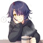 1girl alternate_costume artist_name black_sweater breast_rest breasts brown_eyes closed_mouth coffee coffee_mug cup eyepatch hair_over_one_eye hand_on_own_cheek highres kantai_collection kotobuki_(momoko_factory) large_breasts long_sleeves looking_at_viewer messy_hair mug purple_hair short_hair solo speech_bubble sweater tenryuu_(kantai_collection) translation_request twitter_username upper_body