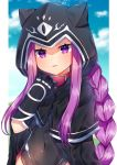 1girl akirannu black_gloves blush braid clouds collar commentary_request covered_navel fate/grand_order fate_(series) gloves highres hood hood_up long_hair looking_at_viewer medusa_(lancer)_(fate) open_mouth outdoors pink_collar purple_hair solo very_long_hair violet_eyes