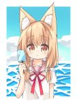 1girl absurdres animal_ears bangs blue_sky blush bow brown_eyes clouds collarbone day eyebrows_visible_through_hair food hair_between_eyes hair_bow hair_over_shoulder hand_up highres holding holding_food light_brown_hair long_hair looking_at_viewer low_twintails nakkar neck_ribbon original pink_sailor_collar popsicle red_ribbon ribbon sailor_collar shirt short_sleeves sky solo twintails water white_bow white_shirt