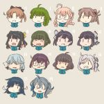 6+girls akigumo_(kantai_collection) asashimo_(kantai_collection) astcd2 black_hair braid brown_hair commentary english_commentary fujinami_(kantai_collection) glasses green_hair grey_background grin hair_over_one_eye hamanami_(kantai_collection) hayanami_(kantai_collection) hayashimo_(kantai_collection) head_only highres kantai_collection kazagumo_(kantai_collection) kiyoshimo_(kantai_collection) makigumo_(kantai_collection) multiple_girls naganami_(kantai_collection) okinami_(kantai_collection) open_mouth pink_hair ponytail side_ponytail silver_hair simple_background single_braid smile takanami_(kantai_collection) twintails yuugumo_(kantai_collection) ||_||