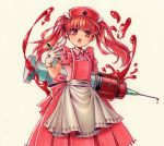 1girl :o apron bangs blood dress earrings gloves hand_up highres jewelry looking_at_viewer marker_(medium) moguo nurse original oversized_object pen pinafore_dress pink_apron pink_shirt red_eyes redhead shirt simple_background standing stud_earrings syringe traditional_media white_background white_gloves