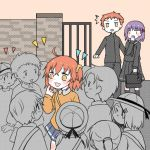 1boy 2girls ahoge aru_u1g blush crowd emiya_shirou eyebrows_visible_through_hair fate/grand_order fate/stay_night fate_(series) fujimaru_ritsuka_(female) hair_between_eyes hair_ornament hair_ribbon hair_scrunchie hand_mouth long_sleeves matou_sakura multiple_girls one_side_up orange_eyes orange_hair purple_hair raglan_sleeves red_ribbon ribbon scrunchie short_hair side_ponytail violet_eyes yellow_eyes yellow_scrunchie