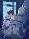 1girl black_hair blue_butterfly blue_eyes blue_hair blue_sky breasts bug butterfly curtains day dress flower hat hat_removed headwear_removed honkai_(series) honkai_impact_3rd indoors insect instrument looking_at_viewer medium_breasts multicolored_hair piano piano_bench sandals seele_vollerei shadow short_hair sitting sky solo two-tone_hair user_iza2829 white_dress window