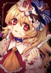 1girl :p ascot bangs blonde_hair blue_bow blue_choker blush bow brown_background chocolate choker commentary_request dual_wielding eyebrows_visible_through_hair flandre_scarlet food food_on_face frilled_shirt_collar frills fruit hair_between_eyes hair_bow hands_up highres holding holding_knife icing knife kyouda_suzuka long_hair looking_at_viewer no_hat no_headwear one_side_up outside_border puffy_short_sleeves puffy_sleeves red_eyes ribbon_choker shirt short_sleeves solo strawberry striped striped_bow tongue tongue_out touhou upper_body white_shirt wrist_cuffs yellow_neckwear