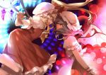 2girls :d arms_at_sides ascot bangs bat_wings battle blonde_hair bow bullet closed_mouth commentary_request crystal danmaku diffraction_spikes dress duel energy_ball eye_contact feet_out_of_frame fingernails flandre_scarlet floating_hair frilled_dress frilled_hat frilled_shirt frilled_shirt_collar frilled_sleeves frills glowing green_hair hands_up hat hat_ribbon joniko1110 jumping lavender_hair leaning_forward lens_flare long_dress looking_at_another magic_circle medium_hair mob_cap multiple_girls one_side_up open_mouth orange_eyes outstretched_hand pink_nails profile puffy_short_sleeves puffy_sleeves red_bow red_dress red_eyes red_ribbon remilia_scarlet ribbon ribbon-trimmed_headwear ribbon_trim sash sharp_fingernails shirt short_hair short_hair_with_long_locks short_sleeves siblings sidelocks sisters skirt skirt_set smile swept_bangs touhou very_long_fingernails white_headwear white_shirt white_skirt wings wrist_cuffs yellow_neckwear