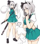 1girl bangs black_bow black_hairband blush bow check_copyright commentary_request eyebrows_visible_through_hair frills green_skirt grey_hair hair_between_eyes hairband katana looking_at_viewer multiple_views shiseki_hirame short_sleeves simple_background skirt smile sword touhou weapon white_background