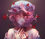 1girl bangs bare_shoulders blood blood_on_face bloody_hands bloody_tears blue_kimono breasts bug butterfly collarbone eyebrows_visible_through_hair fingernails floating_hair hair_between_eyes hair_over_one_eye hands_up hat highres insect japanese_clothes kimono kureihii looking_at_viewer medium_breasts mob_cap off_shoulder open_mouth pink_eyes pink_hair ribbon-trimmed_dress saigyouji_yuyuko short_hair solo teeth touhou triangular_headpiece twitter_username upper_body wavy_hair wind