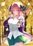 1girl absurdres autumn autumn_leaves bag bangs blue_eyes blue_nails blurry blurry_background blush breasts butterfly_hair_ornament can closed_mouth collared_shirt cowgirl_position day depth_charge dress_shirt eyebrows_visible_through_hair falling_leaves fingernails frown ginkgo glint go-toubun_no_hanayome green_skirt hair_ornament highres holding holding_can jacket large_breasts leaf long_fingernails long_sleeves looking_back miniskirt nail_polish nakano_nino open_clothes open_jacket outdoors piyopoyo pleated_skirt purple_jacket school_bag school_uniform shirt sidelocks skirt sleeves_past_wrists soda solo straddling thigh-highs two_side_up white_legwear zettai_ryouiki