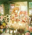 2girls :o ^_^ ^o^ aikatsu! aikatsu!_(series) amahane_madoka apron asymmetrical_bangs bangs basket blue_eyes bow cake cake_stand chair closed_eyes club_(shape) cup dessert diamond_(shape) door dress drink fence floral_print flower flower_basket flower_request food fork hair_bow heart holding holding_cup holding_teapot icing indoors loafers long_hair mocha_(mokaapolka) multiple_girls one_side_up oozora_akari open_door open_mouth orange_hair pink_bow pink_dress pink_flower pink_hair pink_rose plate red_flower red_rose rose shoes side_ponytail smile table tea tea_party teacup teapot thigh-highs twintails vase wavy_hair