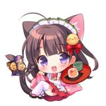 1girl :d ahoge animal_ear_fluff animal_ears apron bell bird_hair_ornament black_footwear blush bow brown_hair cat_ears cat_girl cat_tail chibi cup floral_print food full_body hair_bow hair_ornament holding holding_tray japanese_clothes jingle_bell kimono long_hair lowres maid_apron maid_headdress open_mouth original pinching_sleeves pink_kimono piyodera_mucha pleated_skirt print_bow pudding purple_bow red_bow red_skirt simple_background skirt sleeves_past_wrists smile solo tail tail_bell tail_bow thigh-highs tray very_long_hair violet_eyes wa_maid white_apron white_background white_legwear wide_sleeves
