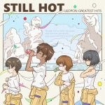 4girls absurdres album_cover bangs black_hair blue_sky bottle brown_eyes brown_hair can closed_eyes clothes_around_waist clouds cloudy_sky commentary confetti cover dark_skin drawing english_text fake_cover from_side girls_und_panzer gloves green_eyes highres holding holding_bottle holding_can hoshino_(girls_und_panzer) jumpsuit long_sleeves mechanic mouth_hold multiple_girls nakajima_(girls_und_panzer) ocean off_shoulder orange_jumpsuit shirt short_hair short_sleeves sky soda_bottle soda_can standing streamers supergtjr suzuki_(girls_und_panzer) sweat t-shirt tank_top tsuchiya_(girls_und_panzer) uniform untucked_shirt walking white_gloves white_shirt