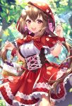 1girl :d animal baguette bangs basket bird blurry blurry_background blurry_foreground blush bottle bow bread breasts brown_hair capelet commentary_request day depth_of_field eyebrows_visible_through_hair flower food hair_between_eyes hair_bow hands_up haruyuki_14 highres hood hood_up hooded_capelet little_red_riding_hood little_red_riding_hood_(grimm) long_hair medium_breasts open_mouth outdoors pink_bow re:wing red_capelet red_eyes red_ribbon red_skirt ribbon round_teeth shirt skirt smile solo teeth tree twintails upper_teeth very_long_hair white_flower white_shirt wrist_cuffs