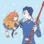 1boy 1girl ahoge armor aru_u1g blue_hair cu_chulainn_(fate)_(all) earrings fate/grand_order fate/stay_night fate_(series) fujimaru_ritsuka_(female) gae_bolg hair_ornament hair_scrunchie holding holding_spear holding_weapon jewelry lancer long_hair long_sleeves one_side_up orange_eyes orange_hair polearm ponytail red_eyes scrunchie short_hair side_ponytail spear weapon yellow_scrunchie