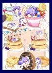 1girl absurdres ahoge azur_lane bangs barefoot black_bow black_ribbon blueberry blush bow bread chibi commentary_request cream criss-cross_halter cup detached_sleeves doughnut dress eating eyebrows_visible_through_hair food fork french_cruller fruit hair_bun hair_ribbon halterneck highres holding holding_spoon in_container in_cup jar knife lifebuoy long_hair long_sleeves multiple_views no_shoes okura00 one_side_up pancake parted_lips pennant plate profile purple_hair ribbon saucer side_bun sleeves_past_wrists slice_of_bread soles spoon stack_of_pancakes strawberry string_of_flags stuffed_alicorn stuffed_animal stuffed_toy sugar_cube tea teacup thigh-highs translation_request unicorn_(azur_lane) very_long_hair violet_eyes white_dress white_legwear white_sleeves