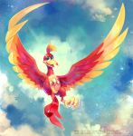 1girl banjo-kazooie bird clouds commentary green_eyes happy highres kazooie_(banjo-kazooie) koriarredondo no_humans open_mouth signature sky star_(sky) watermark web_address wings