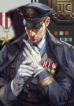 1boy adjusting_clothes adjusting_gloves alternate_costume blonde_hair closed_eyes coat commentary english_commentary formal:_76 gloves hage2013 hat head_down male_focus medal military military_hat military_uniform necktie overcoat overwatch peaked_cap short_hair soldier:_76_(overwatch) solo uniform white_gloves younger
