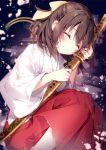 1girl ^_^ blush closed_eyes closed_mouth commentary_request hakama half_updo japanese_clothes katana kimono miko mochizuki_shiina object_hug red_hakama short_hair smile solo sword weapon white_kimono