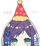 1girl aiba_uiha blue_bow blue_eyes blush bow braid commentary_request fur-trimmed_hat fur_trim hair_bow happy_birthday hat highres looking_at_viewer nijisanji party_hat print_hat purple_hair red_headwear simple_background sofra solo star star_print virtual_youtuber white_background