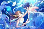 blush brown_eyes brown_hair dress hayami_kanade idolmaster_cinderella_girls_starlight_stage long_hair nitta_minami smile underwater